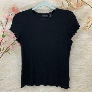 5/$24 Rachel Zoe Short Sleeve Black Ribbed Tee L